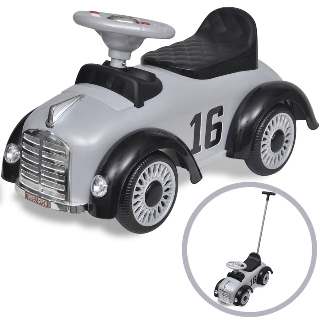 Litedpot Grey Retro Children's Ride-on Car with Push bar