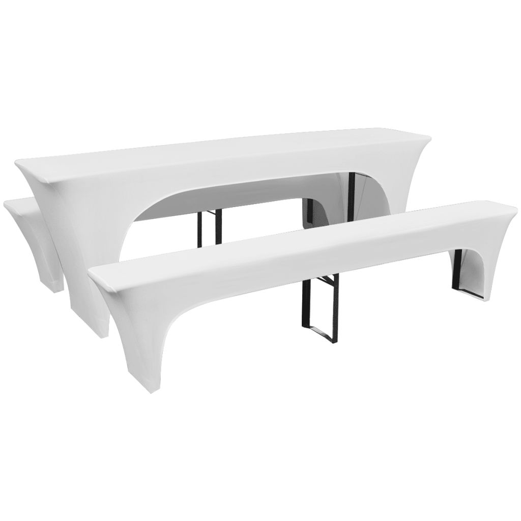 Litedpot 3 Slipcovers for Beer Table and Benches Stretch White 220 x 70 x 80 cm