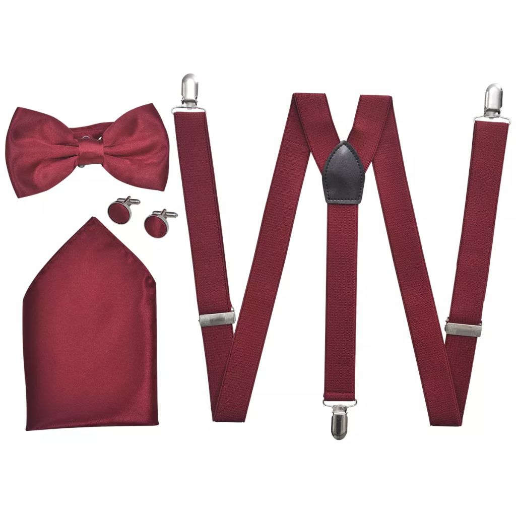 Litedpot Men's Black Tie/Tuxedo Accessories Braces & Bow Tie Set Burgundy