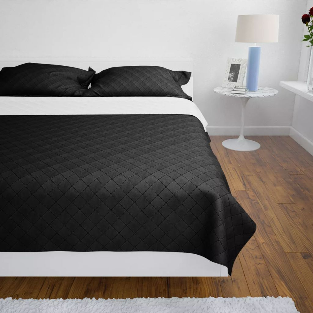 Litedpot Double-sided Quilted Bedspread Black/White 220 x 240 cm