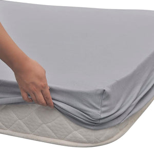 Litedpot Fitted Sheet 2 pcs Cotton Jersey 90x190-100x200 cm Grey