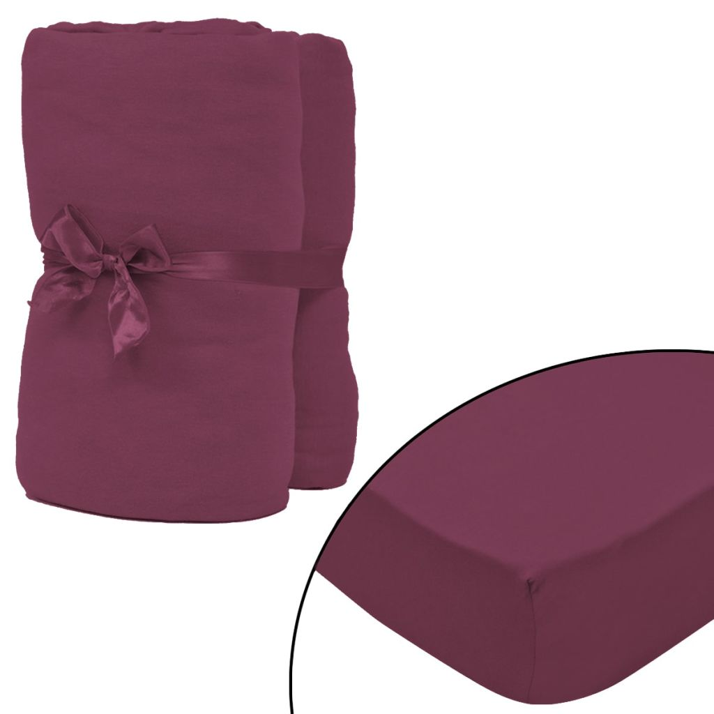 Litedpot Fitted Sheet 2 pcs Cotton Jersey 180x200-200x220cm Burgundy