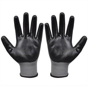 Litedpot Work Gloves Nitrile 24 Pairs Grey and Black Size 9/L