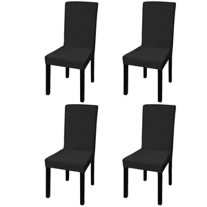 Litedpot Straight Stretchable Chair Cover 4 pcs Black
