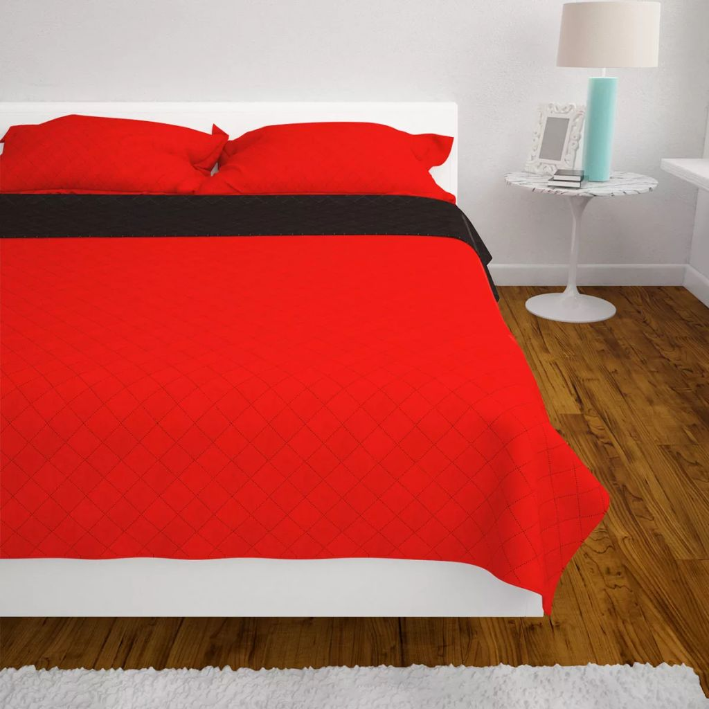 Litedpot Double-sided Quilted Bedspread Red and Black 170x210 cm