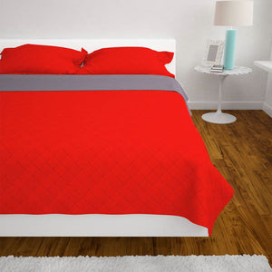 Litedpot Double-sided Quilted Bedspread Red and Grey 220x240 cm