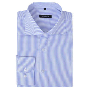 Litedpot Men's Business Shirt White and Light Blue Stripe Size M