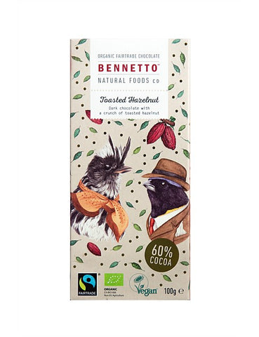 Bennetto Organic Fairtrade Chocolate - Toasted Hazelnut - 100g
