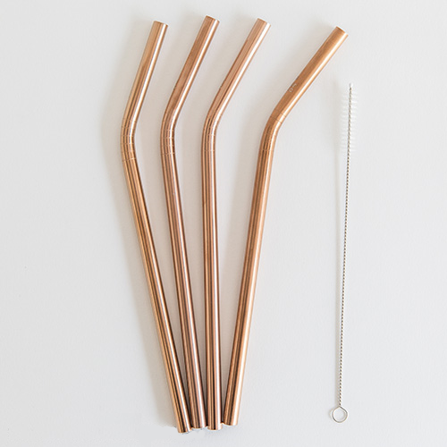 Ever Eco Stainless Steel Straw - Rose Gold Bent