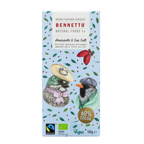 Bennetto Organic Fairtrade Chocolate - Dark Amaranth and Sea Salt - 100g