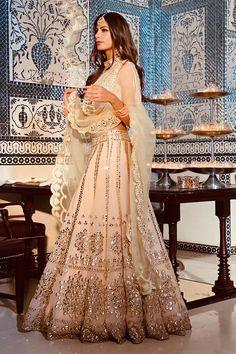 White Net Lehenga with satin lining and  crystal embroider.