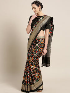 Black Red Printed Patola Saree