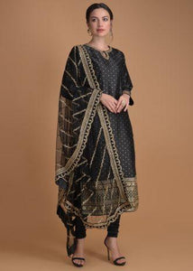 Raven Black Suit With Weaved Buttis And Sequins And Zari Embroidery Online
