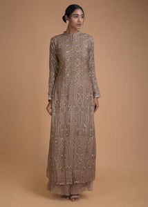 Tan Brown Palazzo Suit With Sequins And Thread Work In Floral