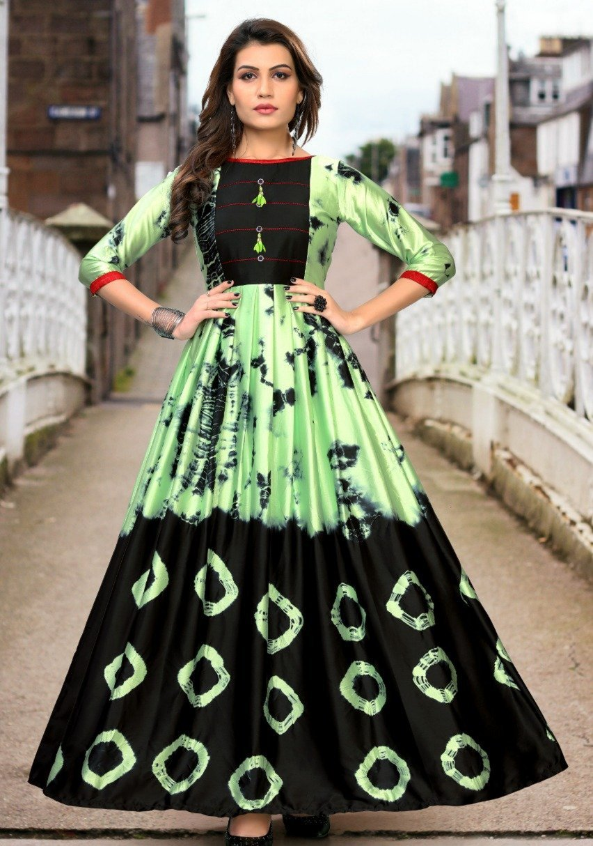 Lovely Green & Black Designer Japan Satin With Digital Print Gown for ladies
