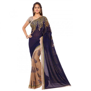 Traditional Faux Georgette Blue&Cream Color Printed Saree With Blouse