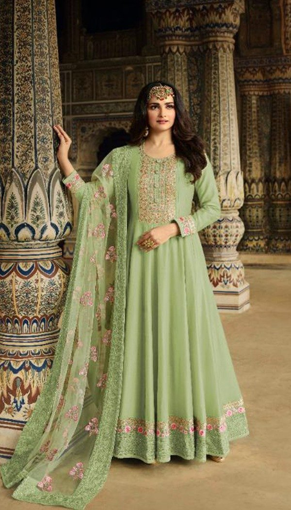 Exclusive Green Colored Embroidary Work Semi stitch Ethnic Wear Gown