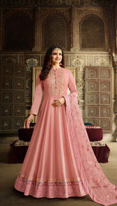 Flirty Pink Colored Embroidary Work Semi stitch Ethnic Wear Gown