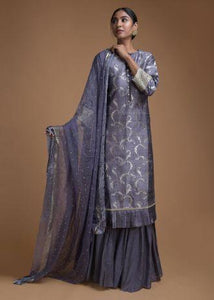 Pigeon Blue Sharara Suit With Weaved Jaal And Pleated Frill