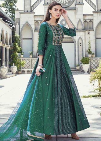 Sacramento Green Anarkali Suit In Raw Silk