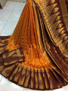 Breathtaking Intricate Orange Nylon Silk With Rich Pallu fancy designer saree