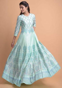 Mint Blue Anarkali Suit In Cotton Silk With Foil Print And Embroidery Work