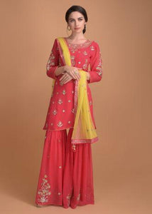 Crimson Pink Sharara Suit With Gotta Patch Embroidery On The Neckline And Floral Buttis