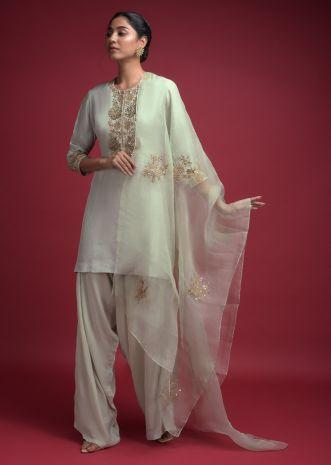 Cucumber Green Dhoti Suit In Cotton Silk With Zardozi Embroidered Floral Pattern