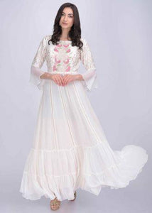 Pearl White Anarkali Dress In Chiffon And Cotton Silk