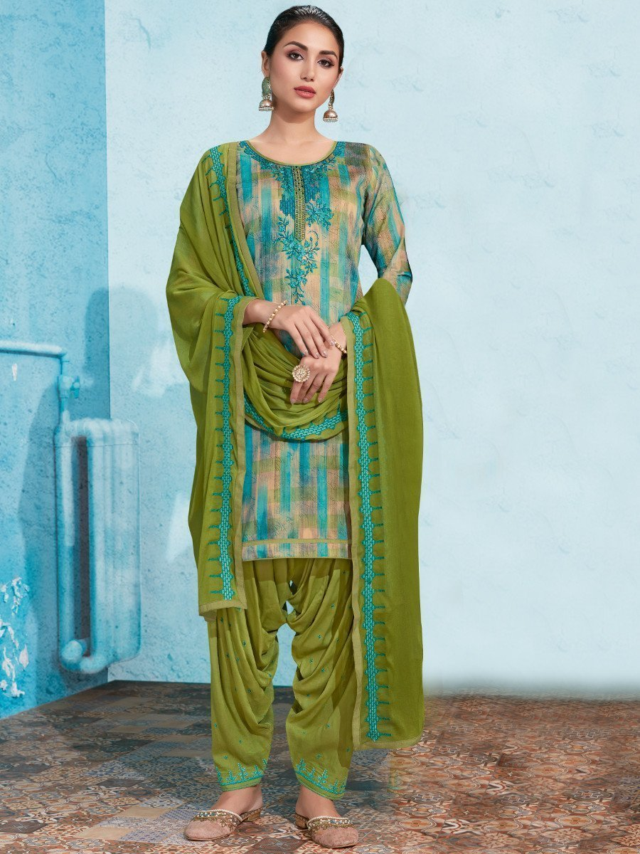 Multicolor UnStitched Embroidered Suit
