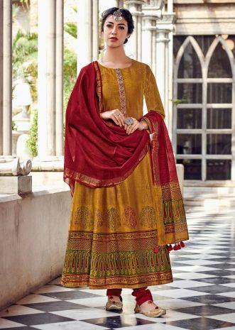 Ochre Yellow Anarkali Suit In Cotton With Geometric Print And Multi Color Block Print On The Hemline