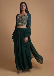 Bottle Green Palazzo Suit With Matching Jacket And Embroidered Floral Jaal