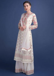 Daisy White Sharara Suit In Cotton Silk With Thread  Zardosi And Kundan Work