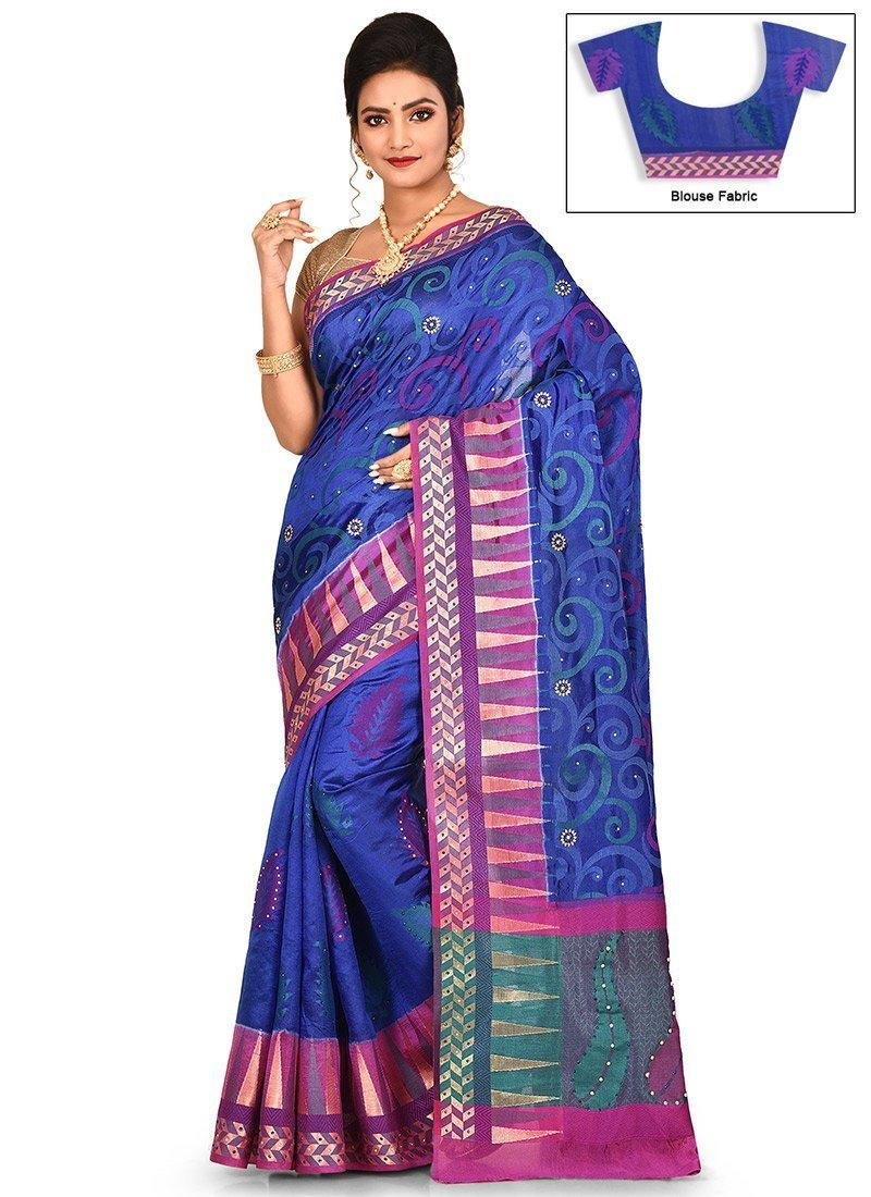 Blue Pure Silk  Saree with latest print design