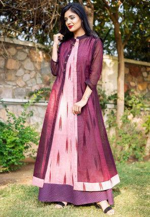 Ikat Printed Cotton Gown in Pink