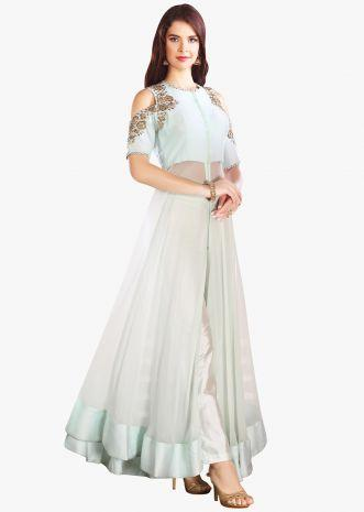 Ice Blue Anarkali Suit With Cold Shoulder And Front Slit