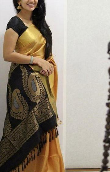 Yellow N Black Color Soft Silk Designer Sarees