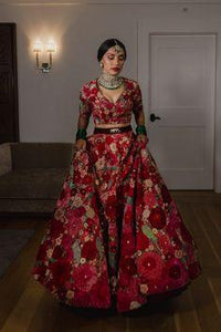 Red Net Lehenga with satin lining and  crystal embroider.