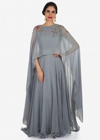 Grey gown in georgette is beautified with sequin and moti embroidery work