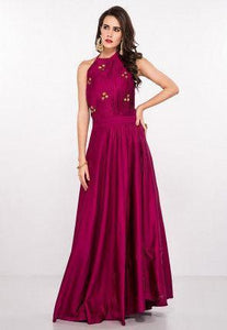 Hand Embroidered Art Silk Pleated Gown in Magenta