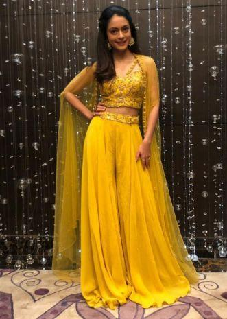 Chrome yellow georgette palazzo with embroidered crop top and a long net jacket