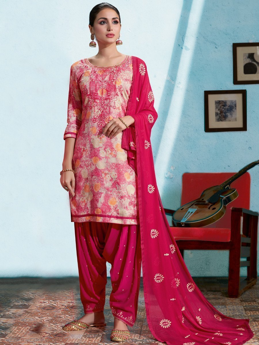 Pink UnStitched Embroidered Suit