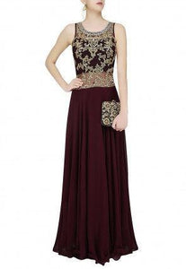 Hand Embroidered Georgette Flared Gown in Wine