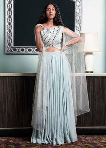 Powder Blue Flared Palazzo In Chiffon With Mirror Abla Embellished Raw Silk Blouse