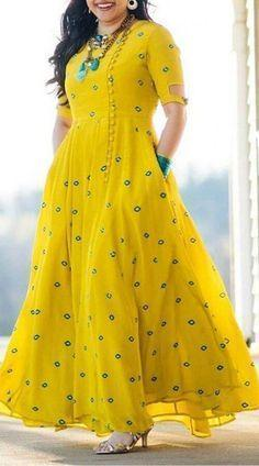 Yellow Georgette Designer Traditional Gown
