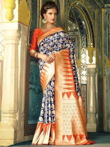 Blue & Rust Designer Saree