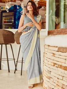 Grey Designer Linen Silk Saree