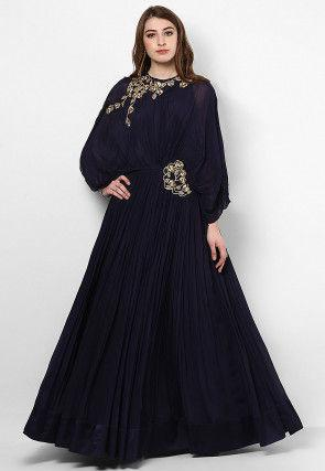 Hand Embroidered Georgette Flared Gown in Navy Blue