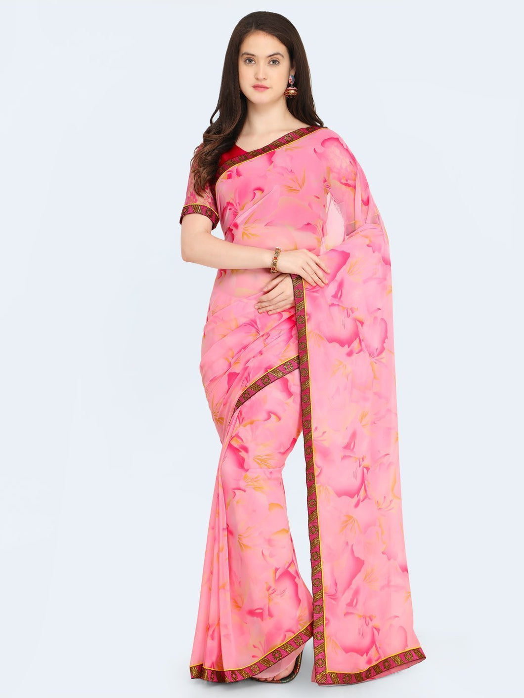 Pink Printed Pure Georgette Heavy Saree