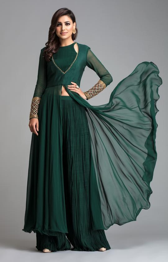 Emerald Stitched Green Embroidered Tunic With Palazzo Set